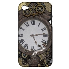 Steampunk, Awesome Clocks With Gears, Can You See The Cute Gescko Apple iPhone 4/4S Hardshell Case (PC+Silicone)