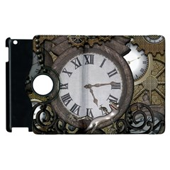 Steampunk, Awesome Clocks With Gears, Can You See The Cute Gescko Apple Ipad 2 Flip 360 Case