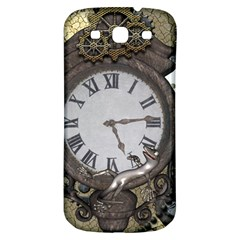 Steampunk, Awesome Clocks With Gears, Can You See The Cute Gescko Samsung Galaxy S3 S III Classic Hardshell Back Case