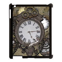 Steampunk, Awesome Clocks With Gears, Can You See The Cute Gescko Apple iPad 3/4 Case (Black)