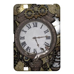 Steampunk, Awesome Clocks With Gears, Can You See The Cute Gescko Kindle Fire HD 8.9