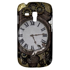 Steampunk, Awesome Clocks With Gears, Can You See The Cute Gescko Samsung Galaxy S3 Mini I8190 Hardshell Case