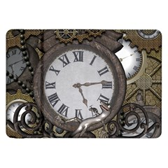 Steampunk, Awesome Clocks With Gears, Can You See The Cute Gescko Samsung Galaxy Tab 8.9  P7300 Flip Case