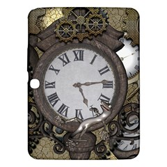 Steampunk, Awesome Clocks With Gears, Can You See The Cute Gescko Samsung Galaxy Tab 3 (10.1 ) P5200 Hardshell Case