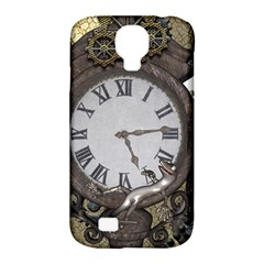 Steampunk, Awesome Clocks With Gears, Can You See The Cute Gescko Samsung Galaxy S4 Classic Hardshell Case (PC+Silicone)