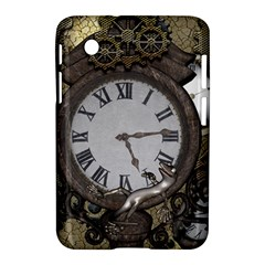 Steampunk, Awesome Clocks With Gears, Can You See The Cute Gescko Samsung Galaxy Tab 2 (7 ) P3100 Hardshell Case