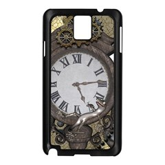 Steampunk, Awesome Clocks With Gears, Can You See The Cute Gescko Samsung Galaxy Note 3 N9005 Case (Black)