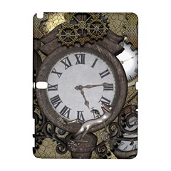 Steampunk, Awesome Clocks With Gears, Can You See The Cute Gescko Samsung Galaxy Note 10 1 (p600) Hardshell Case