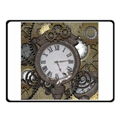 Steampunk, Awesome Clocks With Gears, Can You See The Cute Gescko Double Sided Fleece Blanket (small)