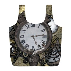 Steampunk, Awesome Clocks With Gears, Can You See The Cute Gescko Full Print Recycle Bags (l)