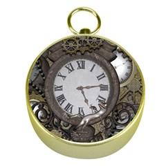 Steampunk, Awesome Clocks With Gears, Can You See The Cute Gescko Gold Compasses
