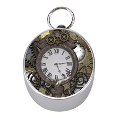 Steampunk, Awesome Clocks With Gears, Can You See The Cute Gescko Mini Silver Compasses