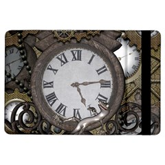 Steampunk, Awesome Clocks With Gears, Can You See The Cute Gescko iPad Air Flip