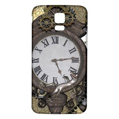 Steampunk, Awesome Clocks With Gears, Can You See The Cute Gescko Samsung Galaxy S5 Back Case (White)