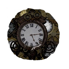Steampunk, Awesome Clocks With Gears, Can You See The Cute Gescko Standard 15  Premium Flano Round Cushions