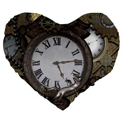 Steampunk, Awesome Clocks With Gears, Can You See The Cute Gescko Large 19  Premium Flano Heart Shape Cushions
