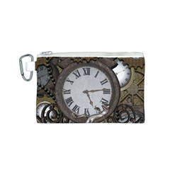 Steampunk, Awesome Clocks With Gears, Can You See The Cute Gescko Canvas Cosmetic Bag (S)