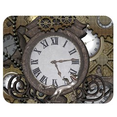 Steampunk, Awesome Clocks With Gears, Can You See The Cute Gescko Double Sided Flano Blanket (medium)
