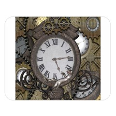 Steampunk, Awesome Clocks With Gears, Can You See The Cute Gescko Double Sided Flano Blanket (Large)