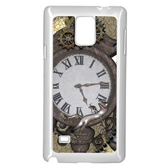 Steampunk, Awesome Clocks With Gears, Can You See The Cute Gescko Samsung Galaxy Note 4 Case (White)