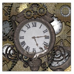 Steampunk, Awesome Clocks With Gears, Can You See The Cute Gescko Large Satin Scarf (Square)