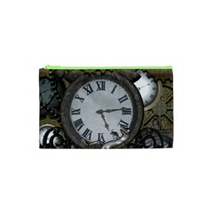 Steampunk, Awesome Clocks With Gears, Can You See The Cute Gescko Cosmetic Bag (xs)