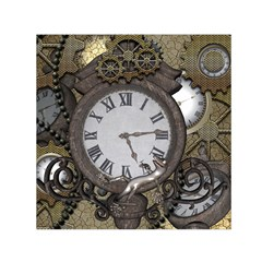 Steampunk, Awesome Clocks With Gears, Can You See The Cute Gescko Small Satin Scarf (square)