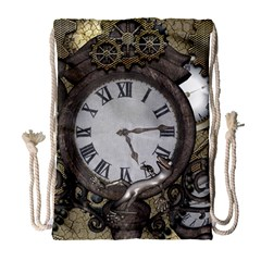 Steampunk, Awesome Clocks With Gears, Can You See The Cute Gescko Drawstring Bag (Large)