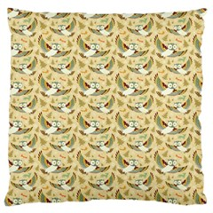 Owls In Flight Large Cushion Case (two Sided)