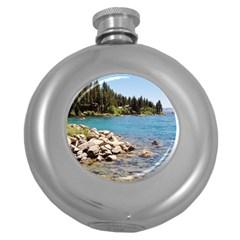 Nevada Lake Tahoe  Round Hip Flask (5 oz)