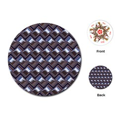 Metal Weave Blue Playing Cards (round)