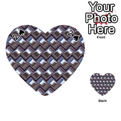 Metal Weave Blue Playing Cards 54 (heart)