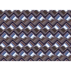 Metal Weave Blue Birthday Cake 3d Greeting Card (7x5)