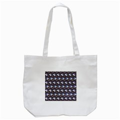 Metal Weave Blue Tote Bag (White)