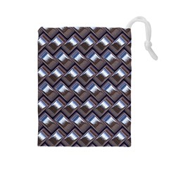 Metal Weave Blue Drawstring Pouches (Large)