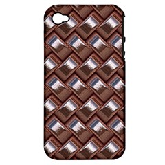 Metal Weave Pink Apple iPhone 4/4S Hardshell Case (PC+Silicone)