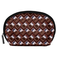 Metal Weave Pink Accessory Pouches (Large)