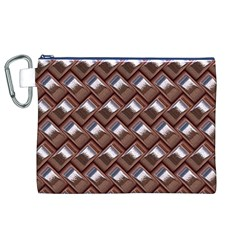 Metal Weave Pink Canvas Cosmetic Bag (XL)