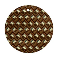 Metal Weave Golden Round Ornament (Two Sides)