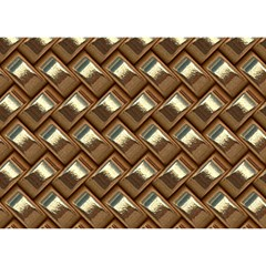 Metal Weave Golden Birthday Cake 3D Greeting Card (7x5)