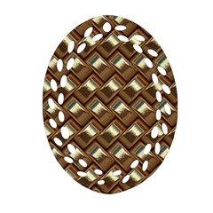 Metal Weave Golden Oval Filigree Ornament (2 Side)