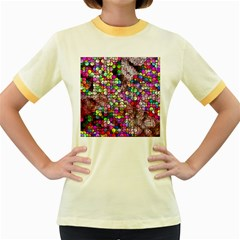 Artistic Cubes 3 Women s Fitted Ringer T Shirts