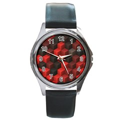Artistic Cubes 7 Red Black Round Metal Watches