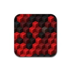 Artistic Cubes 7 Red Black Rubber Square Coaster (4 pack)