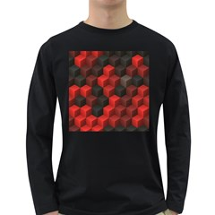 Artistic Cubes 7 Red Black Long Sleeve Dark T-Shirts