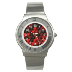 Artistic Cubes 7 Red Black Stainless Steel Watches