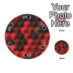 Artistic Cubes 7 Red Black Playing Cards 54 (Round)