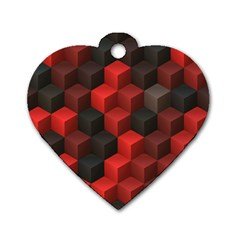 Artistic Cubes 7 Red Black Dog Tag Heart (Two Sides)