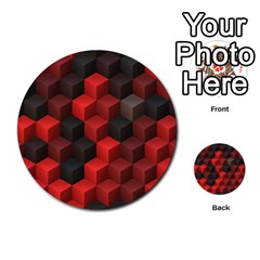 Artistic Cubes 7 Red Black Multi Purpose Cards (round)
