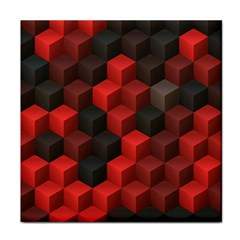 Artistic Cubes 7 Red Black Face Towel